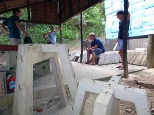 Atelier de fabrication des SRP (1er essais en béton classique)